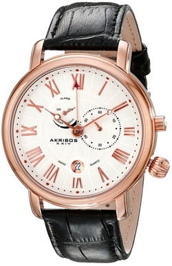 Swiss Multi-Function Leather Strap Watch by Akribos XXIV in Ballers
