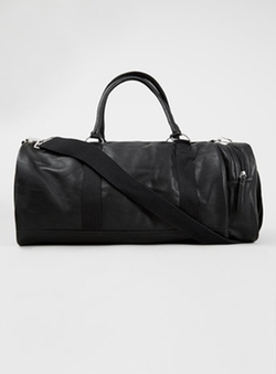 Black Faux Leather Sports Duffle Bag by Topman in The Town