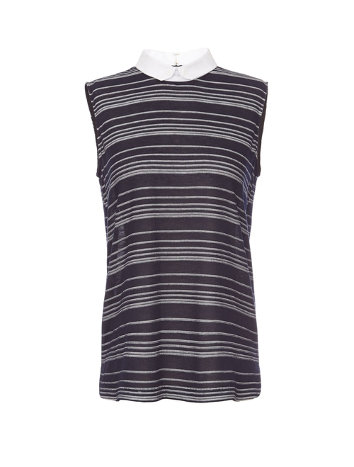 Sheer Sleeveless Striped Collar Shirt by O'2nd in Elementary - Season 4 Episode 5