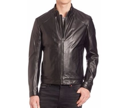 Zip-Front Leather Jacket by Hugo Boss in The Bachelor
