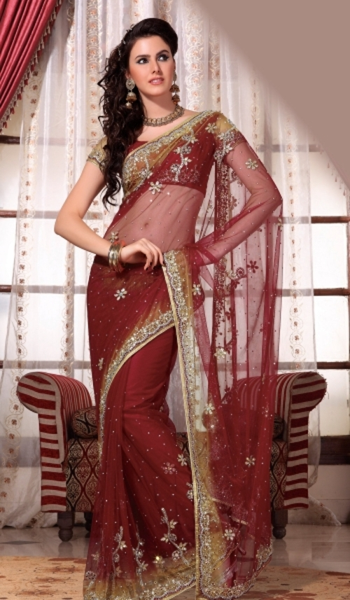 Dark Red Art Silk Saree by Utsav Fashion in The Second Best Exotic Marigold Hotel