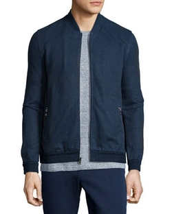 Linen-Blend Zip-Up Track Jacket by Michael Kors  in Billions