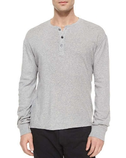 Button-Down Ribbed Henley Tee Shirt by Ralph Lauren Black Label in Fantastic Four