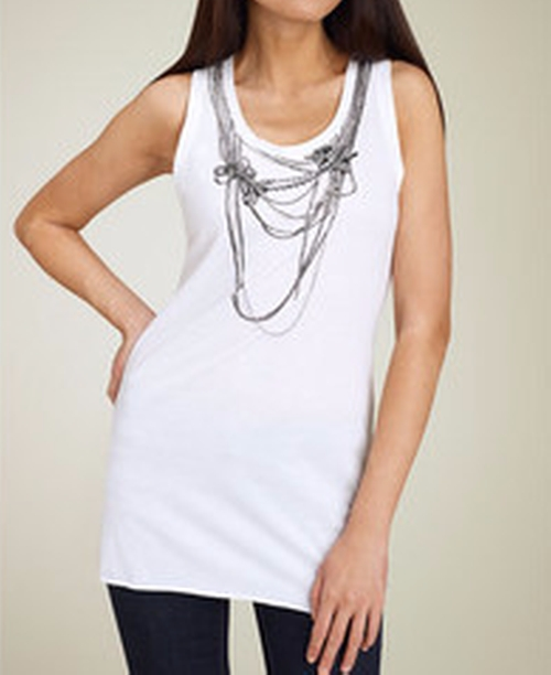 Chain & Rhinestone Screenprint Tank Top by BCBGMAXAZRIA in Gossip Girl - Series Looks