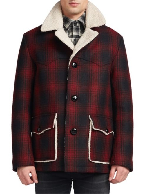Faux-Shearling Lined Plaid Jacket by Saint Laurent in Deadpool