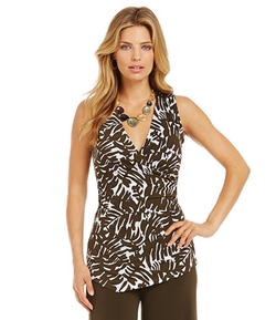 Sleeveless Faux-Wrap Tunic by Jones New York Signature in 99 Homes