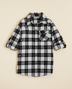 Girls' Embellished Plaid Button Down Shirt by Flowers by Zoe in Southpaw