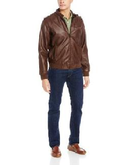 Men's Faux Leather Racer Jacket, Cigar Brown by Members Only in Walk of Shame