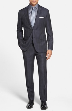'Jewels/Linus' Trim Fit Plaid Wool Suit by Boss in Suits