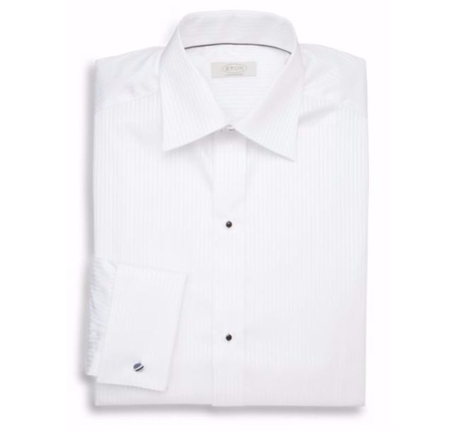 Contemporary-Fit Tonal Stripe Formal Dress Shirt by Eton of Sweden in Elementary - Season 5 Episode 1