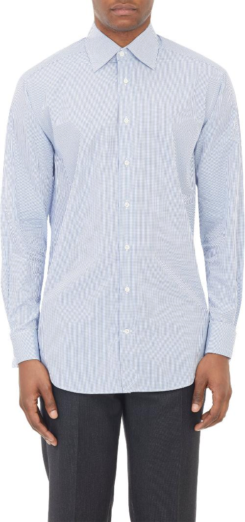 Micro Check Dress Shirt by Barneys New York in Need for Speed