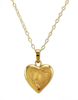 Gold Small Heart Locket Necklace by Lord & Taylor in Suicide Squad
