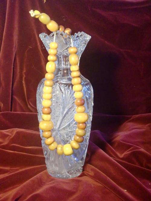 Rare antique copal amber African prayer beads 210g. by Fine Antique Mart in Blended