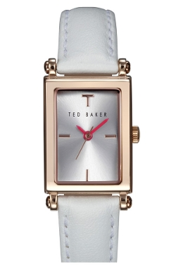 'Bliss' Rectangle Case Leather Strap Watch by Ted Baker London in Mean Girls