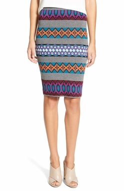 Geo Stripe Knit Pencil Skirt by Plenty by Tracy Reese in Supergirl