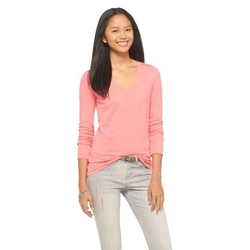 Longsleeve V-Neck Tee Shirt by Mossimo Supply Co. in Barely Lethal