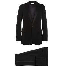 Satin-Trimmed Virgin Wool Tuxedo by Saint Laurent in Spy