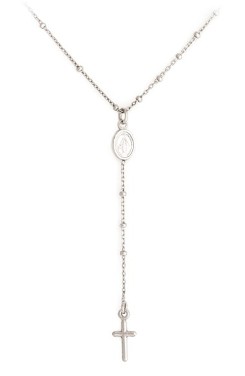 Cross & Miraculous Medal Sterling Silver Pendant Necklace by Speidel in Max