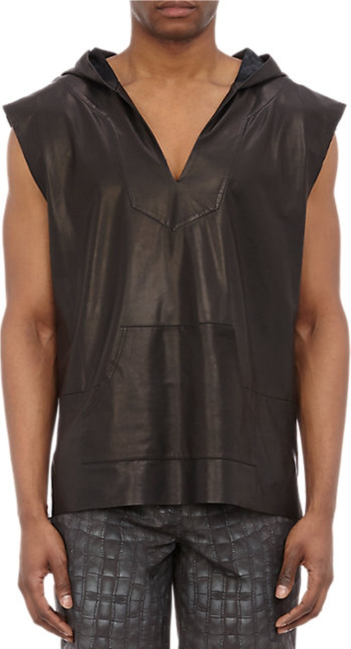 Leather Sleeveless Hoodie Sweater by Baja East in Empire