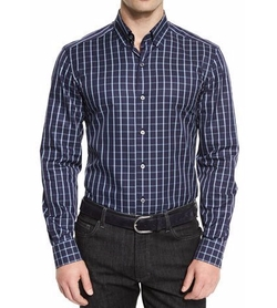 Windowpane Long-Sleeve Sport Shirt by Ermenegildo Zegna in Modern Family