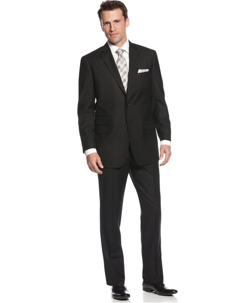 Comfort Stretch Black Solid Suit by Perry Ellis in We Are Your Friends