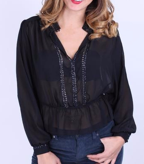 Sheer Embellished Blouse by Free People in Pretty Little Liars - Season 7 Preview
