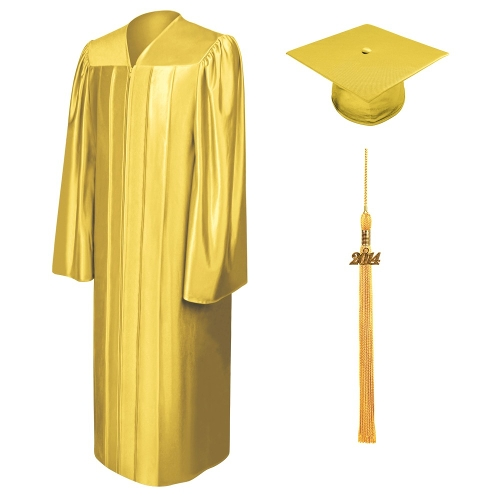 Shiny Gold Bachelor Cap, Gown & Tassel by Graduation Cap And Gown in Unfriended