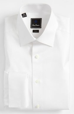 Tonal Solid Trim Fit Tuxedo Shirt by David Donahue in Hot Pursuit