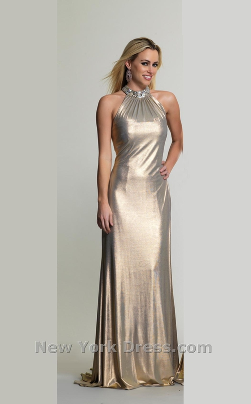Gleaming Glamour Metallic Evening Gown by Dave And Johnny in Tomorrow Never Dies