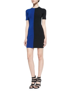 Two-Tone Short-Sleeve Dress by T by Alexander Wang in Supergirl