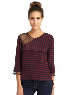 Skyla Asymmetrical Stripe Top by BCBGMAXAZRIA in Pretty Little Liars