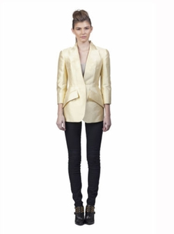 Tailored Silk Mikado Jacket by Alexander McQueen in Suits