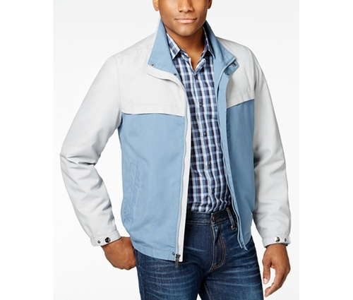 Men's Colorblocked Stand-Collar Jacket by Perry Ellis in New Girl - Season 5 Episode 9