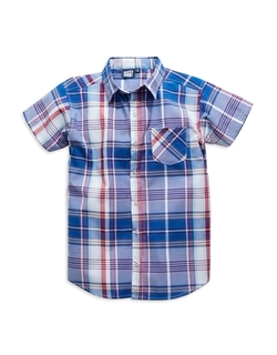 Boys Plaid Button-Down Shirt by JUST MAX in Blended