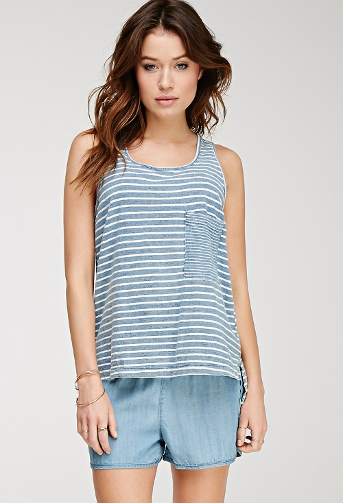 Striped Cotton Tank Top by Forever 21 in Thor