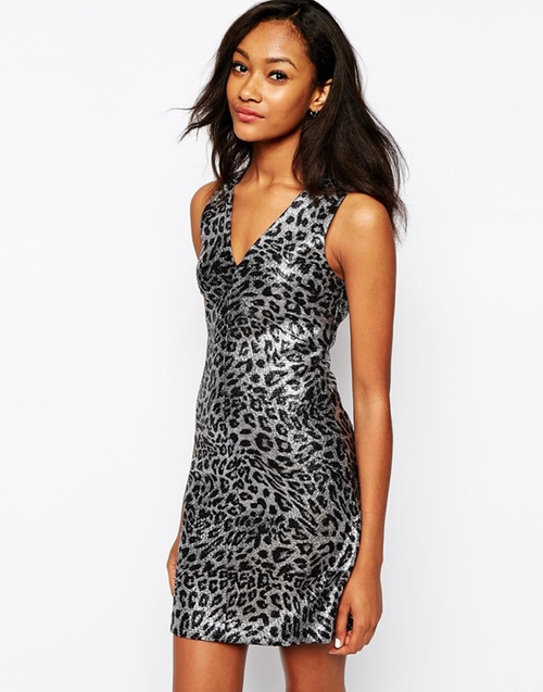 Sexy Metallic Animal Jacquard Dress by Asos Warehouse in Crazy, Stupid, Love.