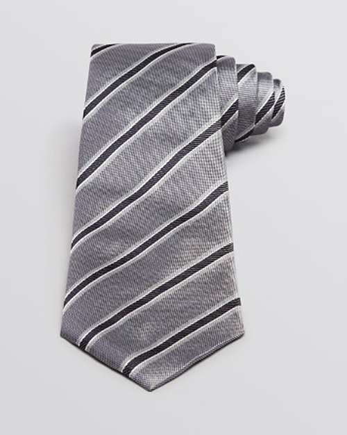 Pique and Twill Diagonal Stripe Tie by Armani Collezioni in Side Effects
