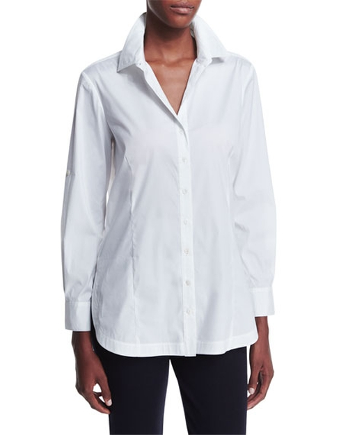 Long-Sleeve Button-Front Shirt by Misook in Fifty Shades Darker