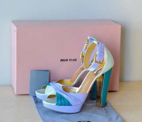Multi Color Pastel Ankle Strap Patent Leather Sandals by Miu Miu in Confessions of a Shopaholic