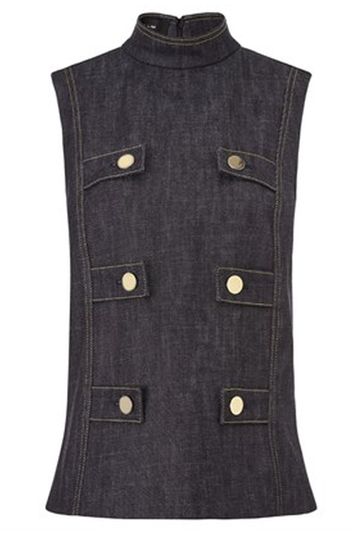 Indigo Denim Sleeveless Military Top by Derek Lam in Empire - Season 2 Episode 4