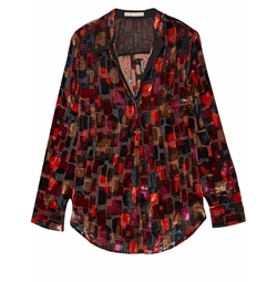 Velvet and Organza Shirt by Alice + Olivia in Arrow