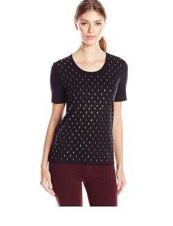 Studded Cotton T-Shirt by Joan Vass in Fuller House
