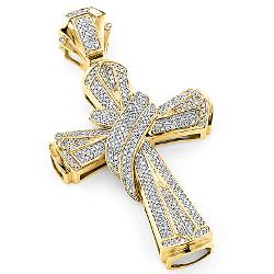 Large Gold Men's Diamond Cross Necklace Pendant by Hip Hop Jewelry in Pain & Gain