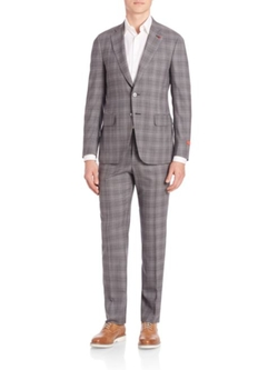 Plaid Two Button Wool Suit by Isaia  in Ballers