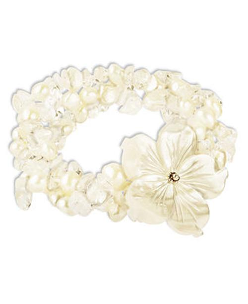 Sterling Silver Freshwater Pearl Shell Flower Bracelet by Macy's in Limitless