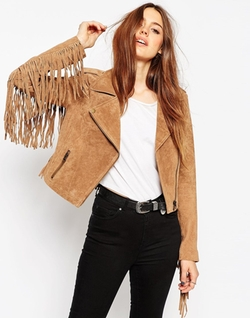 Suede Fringing Biker Jacket by Asos Collection in Pretty Little Liars