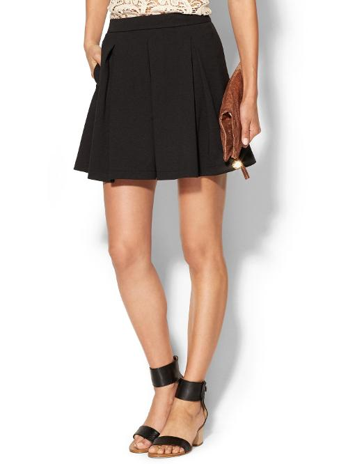 Abbey Pleated Mini Skirt by PIM + LARKIN in Brick Mansions