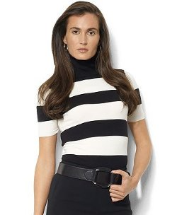 Short-Sleeve Striped Turtleneck Sweater by Lauren Ralph Lauren in The Place Beyond The Pines