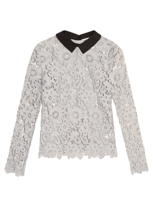 Contrast Collar Daisy Lace Top by Self Portrait  in The Bachelorette - Season 12 Looks