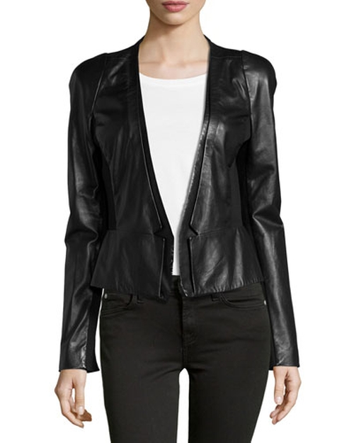 Leather Blazer, Black by Halston Heritage in Pretty Little Liars - Season 6 Episode 2